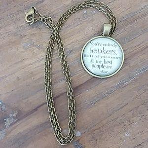 Alice in Wonderland bronze bonkers clavicle neckla